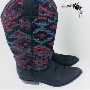 Rare Vintage Guess Tapestry Cowboy Boots